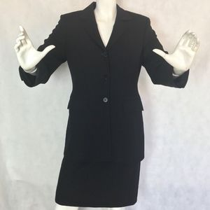Saks Fifth Ave Suit Skirt Black Wool Fitted Sz 4/6